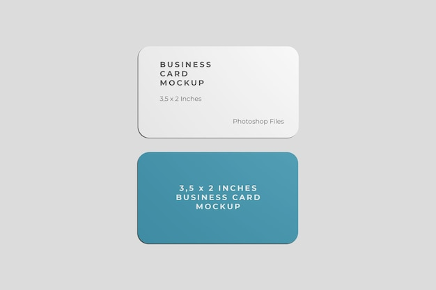 Rounded business card mockup top view