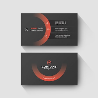 Rounded business card modern red  and dark