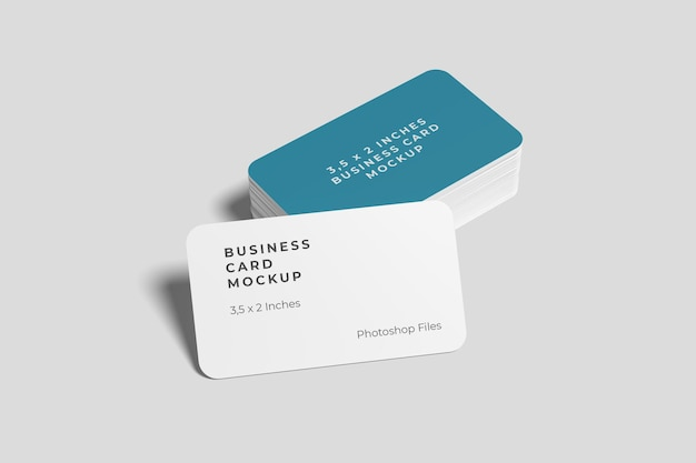 Rounded business card and stack mockups