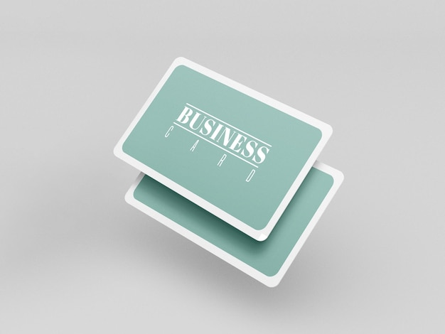 Rounded business cards mockup