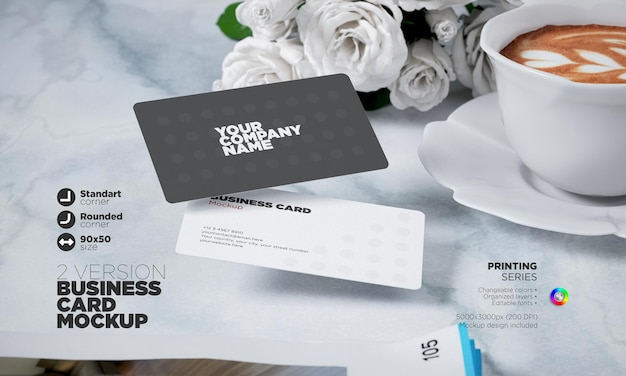 Rounded corner 90x50mm business card mockup