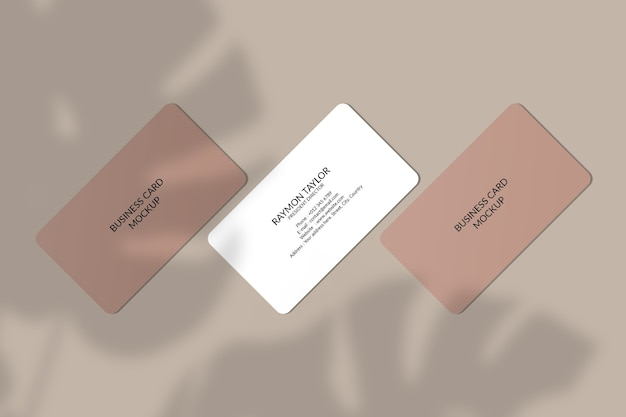 Rounded corner business card mockup with leaf shadow
