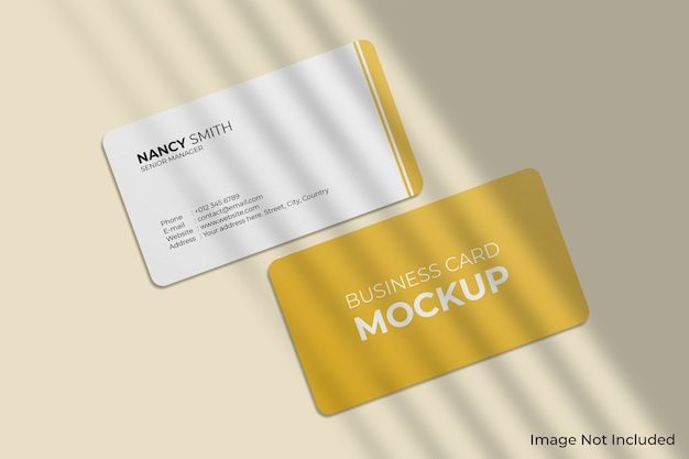 Rounded corner business cards mockup with shadow