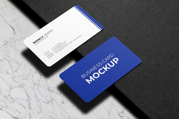 Rounded corner business cards mockup