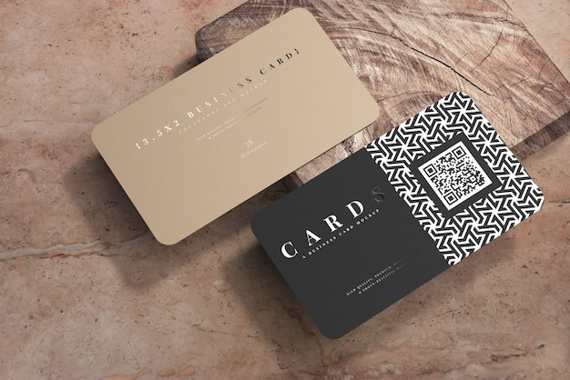 Rounded corner business cards mockup
