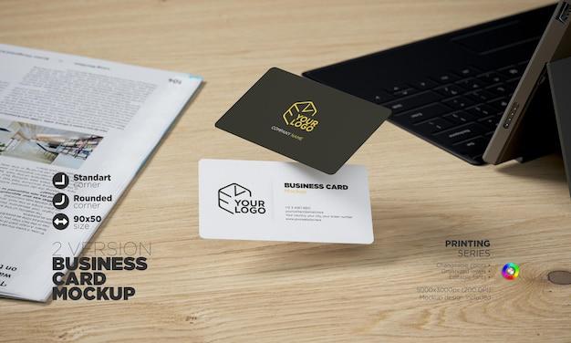 Rounded corner editable business card mockup