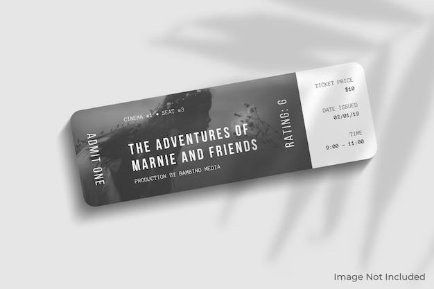 Rounded corner ticket mockup with shadow overlay