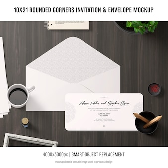 Rounded corners invitation and envelope mockup