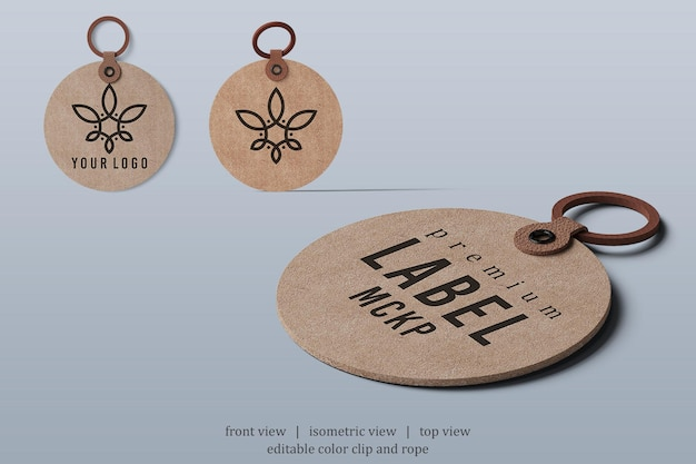 Rounded leather label mockup with various points of view