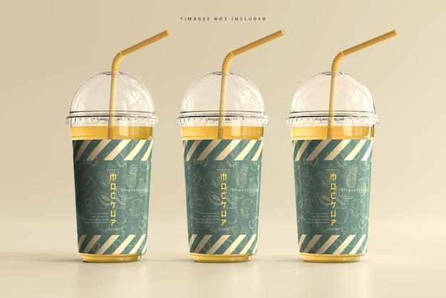 丸い蓋の大きなプラスチックカップのモックアップ 無料 Psd