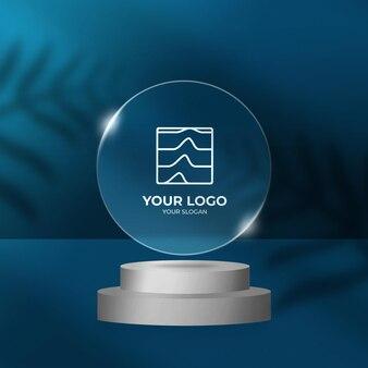 Закругленная рамка с логотипом с прозрачным эффектом на макете подиума