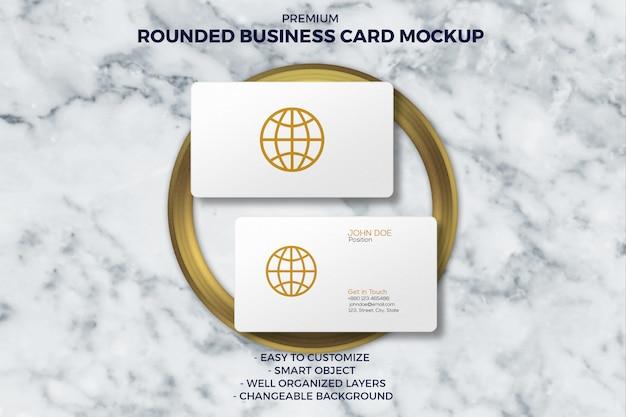 Rounded luxury business card mockup