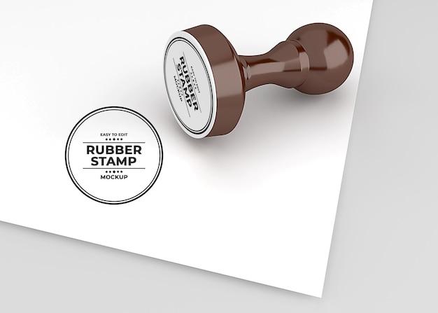 丸みを帯びたゴム印のロゴのモックアップデザイン