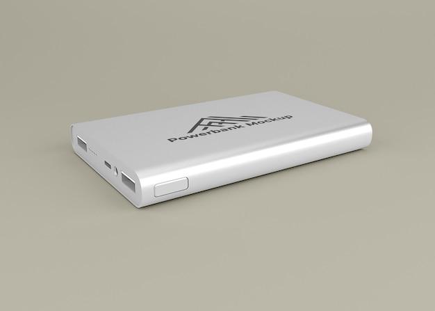 丸みを帯びたシルバーのパワーバンクデバイスのモックアップ