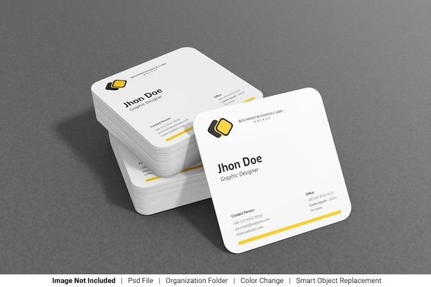 Мокап визитной карточки с закругленными углами Premium Psd