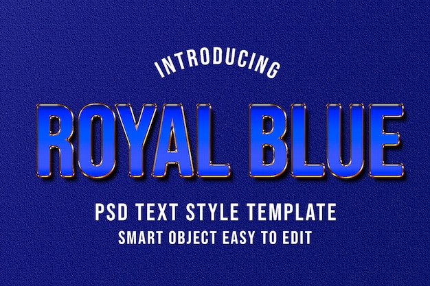 Royal blue psd text style template mockup - luxury elegant text effect photoshop style