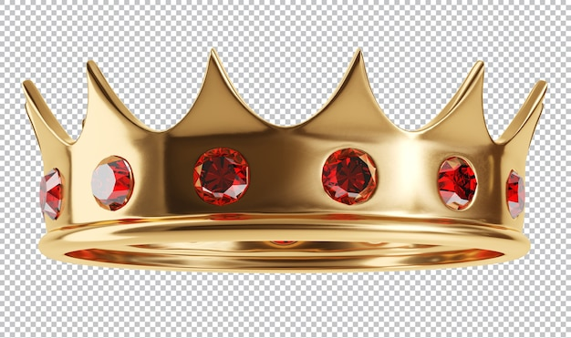 Royal golden crown with jewels isolated 3d rendering