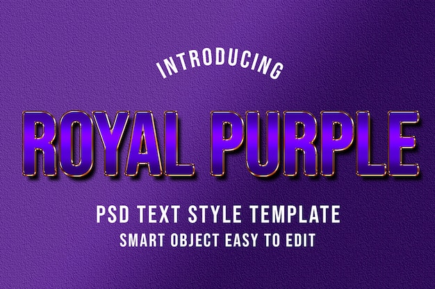 Royal purple psd text style template mockup