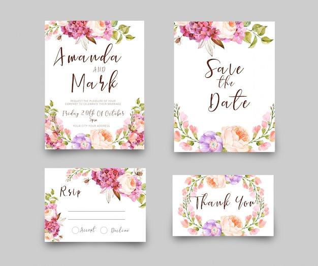 結婚式招待状のrsvpカード水彩風