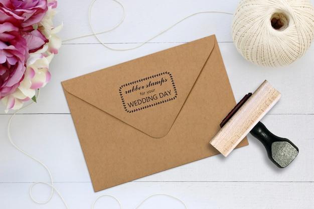 Rubber stamp on craft envelope mockup