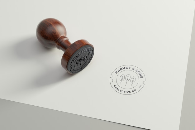 Rubber stamp logo mockup. round version