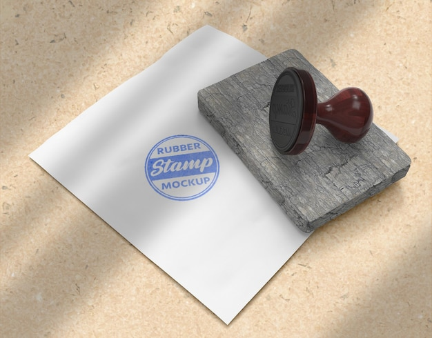 ゴム印またはスタンプパッドの文房具のロゴのモックアップデザイン