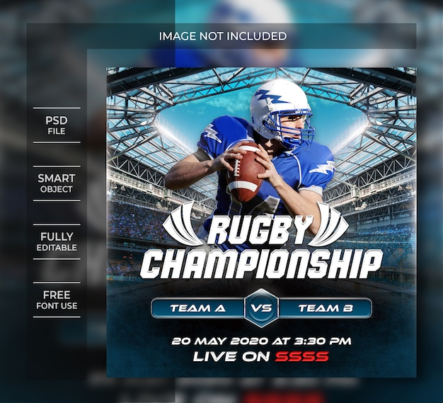 Rugby championship flyer template or  social media post