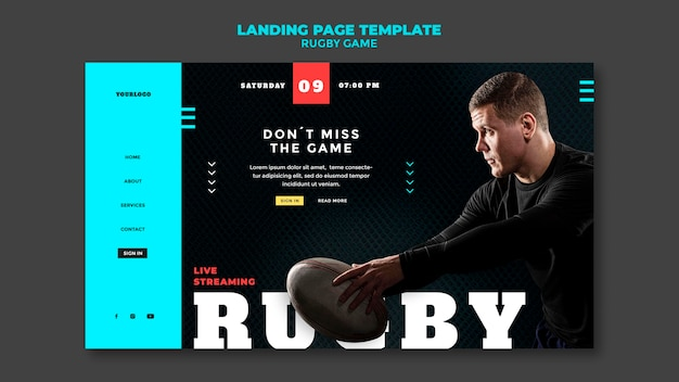 Modello di progettazione della pagina di destinazione del gioco di rugby
