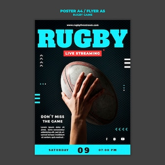 Шаблон дизайна плаката игры регби