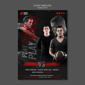 Rugby sports vertical flyer