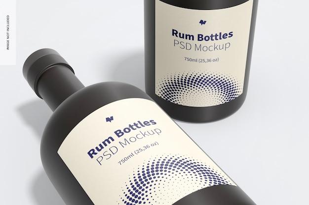 Бутылки рома мокап, крупный план