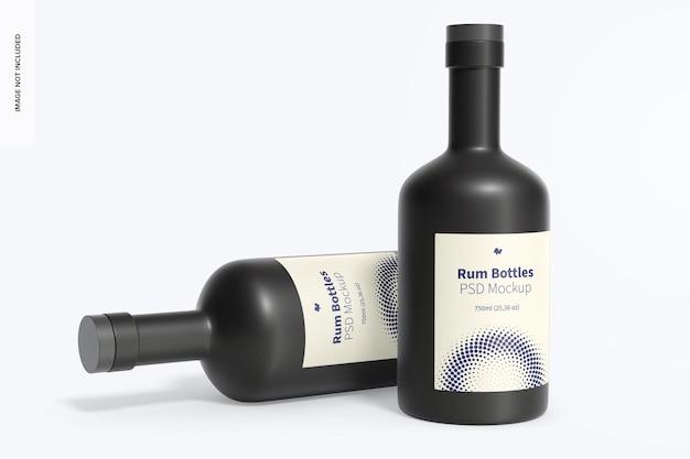 Bottiglie di rum mockup