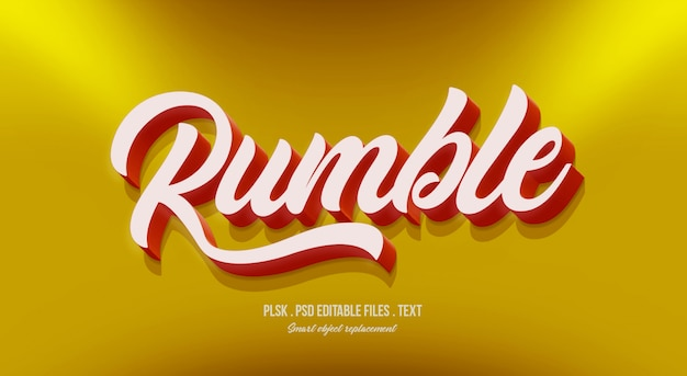 Rumble 3d text style effect mockup