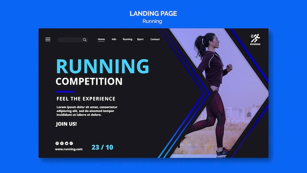 Running competition template landing page