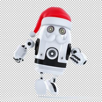 달리는 산타클로스 로봇. 크리스마스 기술 개념입니다. 외딴