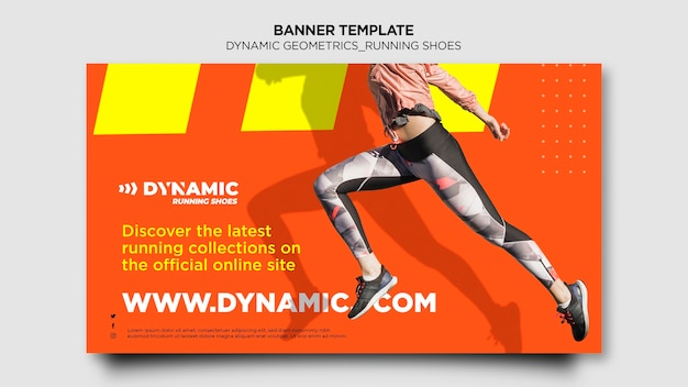 Running shoes banner template
