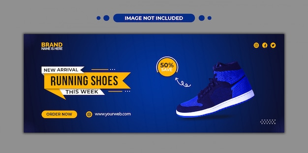 Running shoes facebook timeline cover and web template