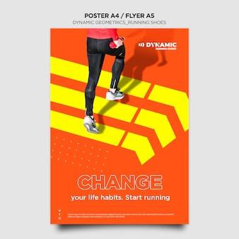 Running shoes flyer template