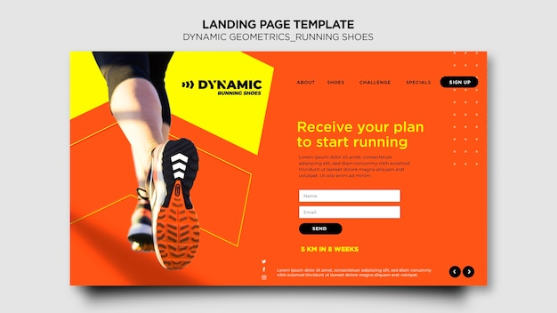 Running shoes landing page template