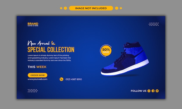 Running shoes social media and web banner template