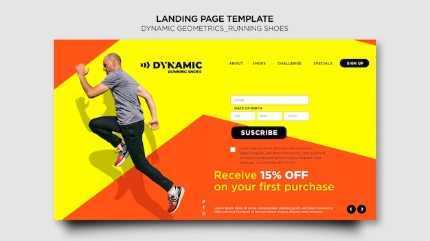 Running shoes template landing page