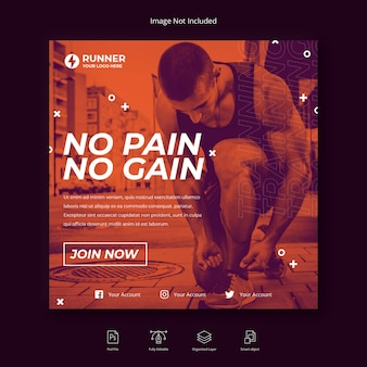 Running sport social media instagram post or square flyer template