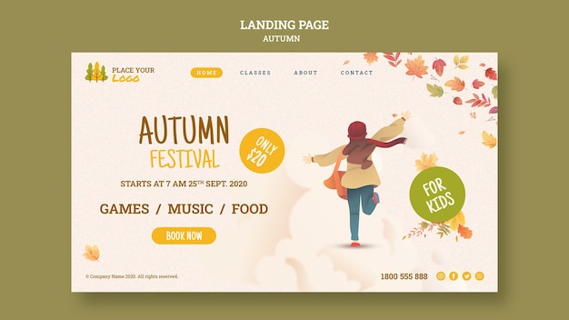 Running towards autumn festival landing page