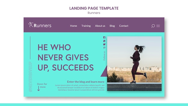 Running training landing page template