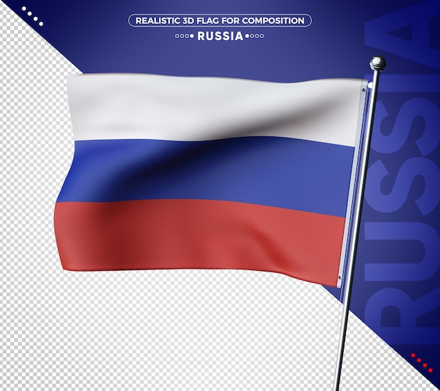Russia 3d textured flag for composition