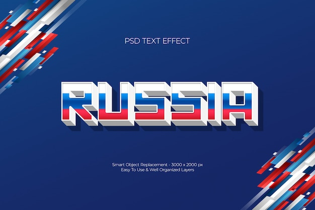 Russia three color white blue red 3d text effect concept