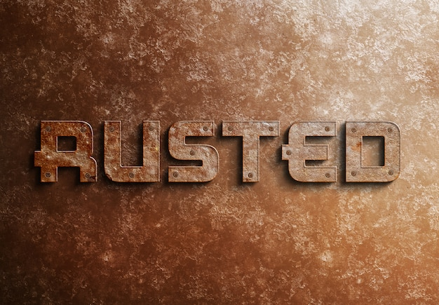 Rusted metal 3d text effect mockup