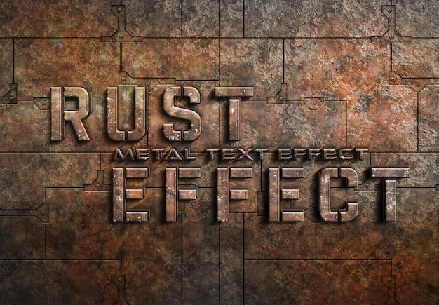 Rusted metal text effect