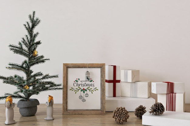 Rustic frame poster mockup in christmas concept with christmas tree and decoration