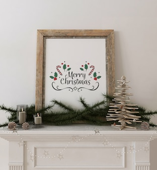 Rustic frame poster mockup with wooden christmas tree and decoration